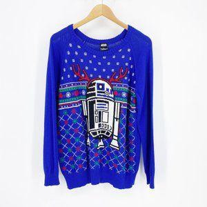 Star Wars R2-D2 Christmas Sweater Blue Knit XL